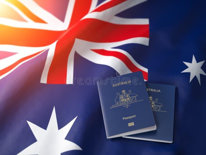 Pass von Australien auf der australischen Flagge Erhalten eines Passes Australien-, Naturalisations- und Immigrationskonzeptes lizenzfreie abbildung