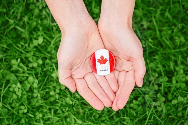 Passa le palme che tengono intorno al distintivo con la foglia di acero canadese bianca rossa della bandiera su erba verde immagini stock libere da diritti