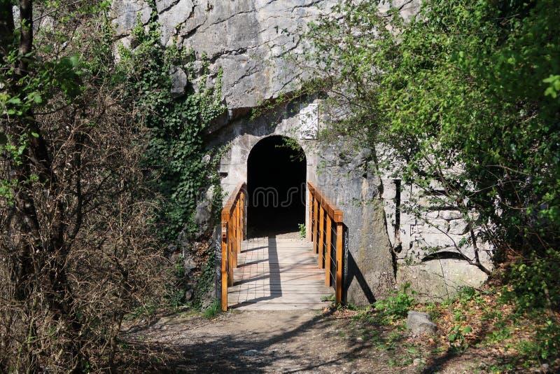 Passadiço de madeira pequeno perto do Bastille do La imagens de stock royalty free