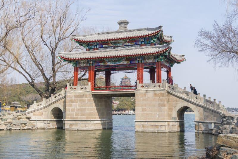 Passadiço no palácio de verão no Pequim fotografia de stock royalty free