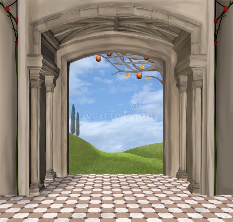 Passage aan het surreal droomland stock illustratie