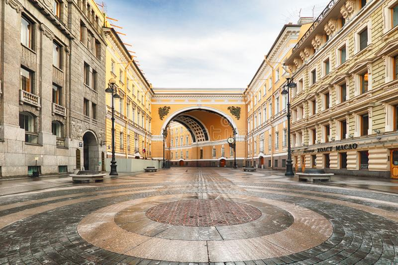 Passage in Arch of General Staff Building on Bolshaya Morskaya Street to Palace Square in Saint Petersburg, Russia.  royalty free stock photos