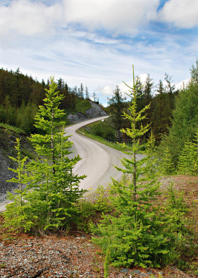 Passage, bergweg, Altai, Rusland royalty-vrije stock afbeeldingen