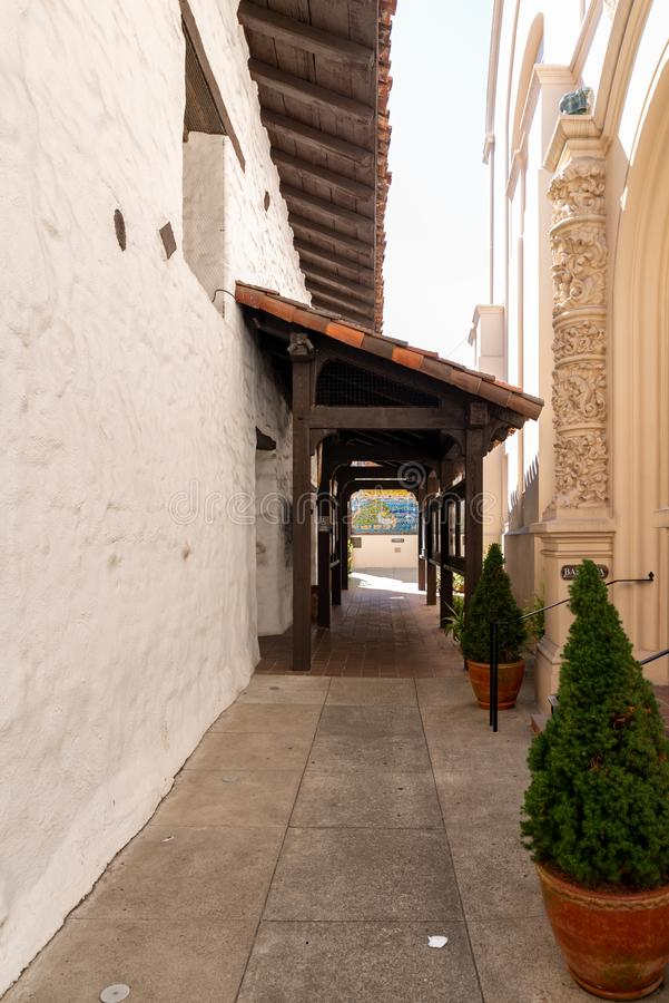 Passage at the courtyard of Mission Dolores in San Francisco stock image