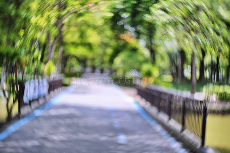 Passage couvert avec le bokeh spécial en parc images libres de droits