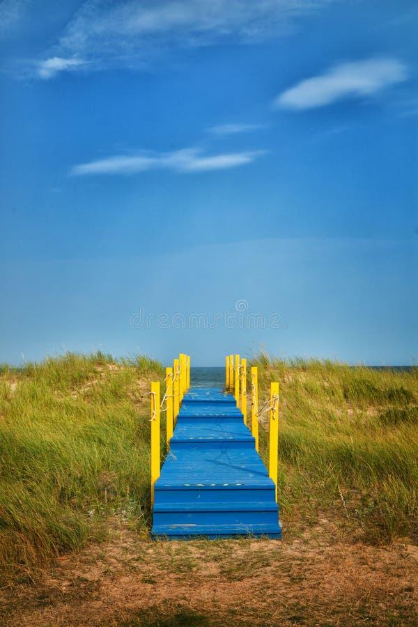 Passage couvert en bois bleu image stock