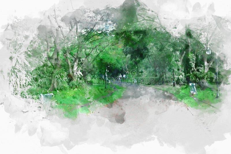 Passage couvert et rue colorés abstraits sur la peinture d'illustration d'aquarelle illustration stock