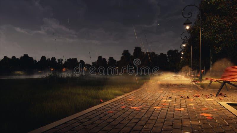 Passage couvert vide de parc la nuit brumeux automne avec la pluie images libres de droits