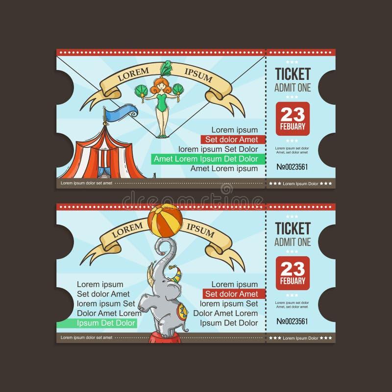 Passage de billet de cirque Bande dessinée de griffonnage illustration stock
