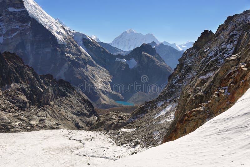 Passage de Cho La dans la région d'Everest, Népal image libre de droits