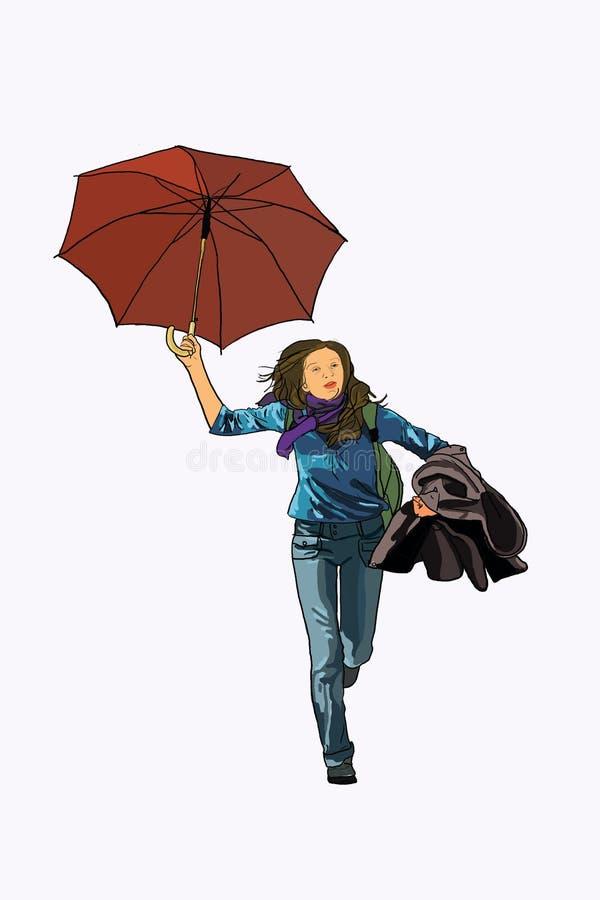Passage de femme de parapluie illustration stock