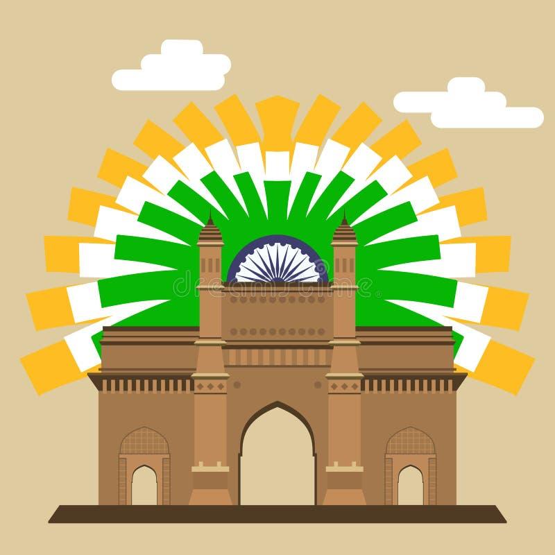 Passage de Mumbai gateway Point de repère indien avec le drapeau abstrait EPS8 illustration stock