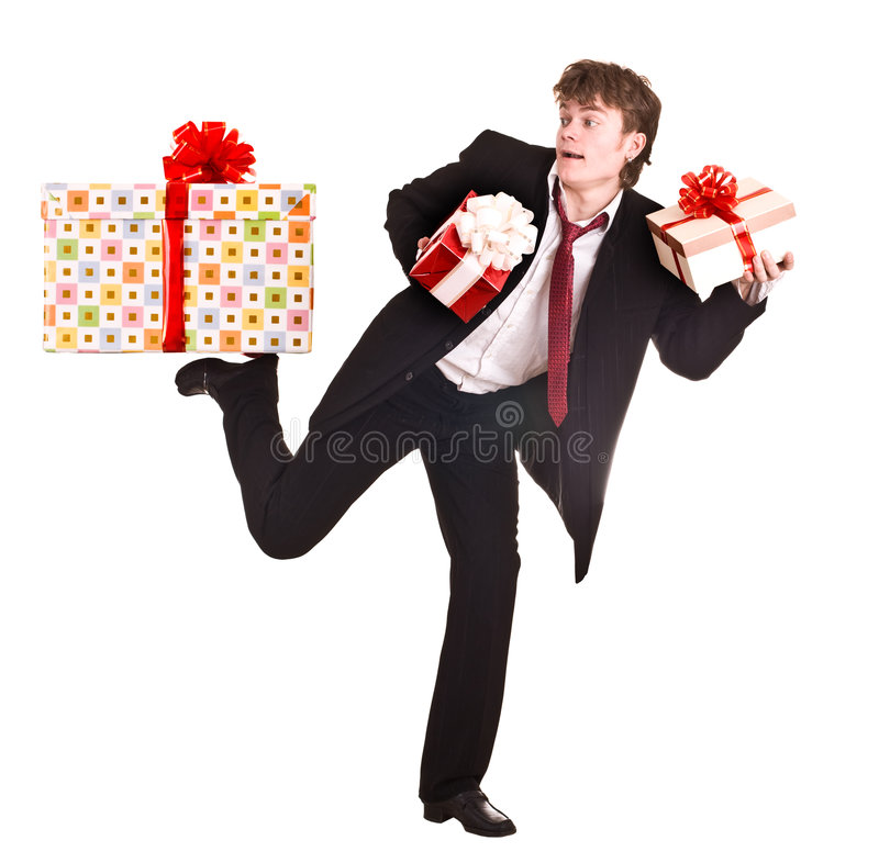 passage en baisse d'homme de cadeau de cadre image stock