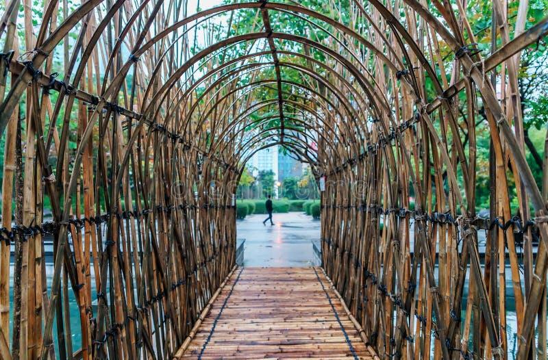 Passage en forme d'arc en bambou en parc de Kowloon, Hong Kong photo stock