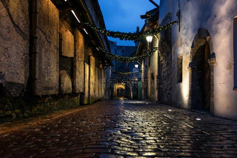 Passage för ` s för St Catherine på natten i Tallinn royaltyfria bilder