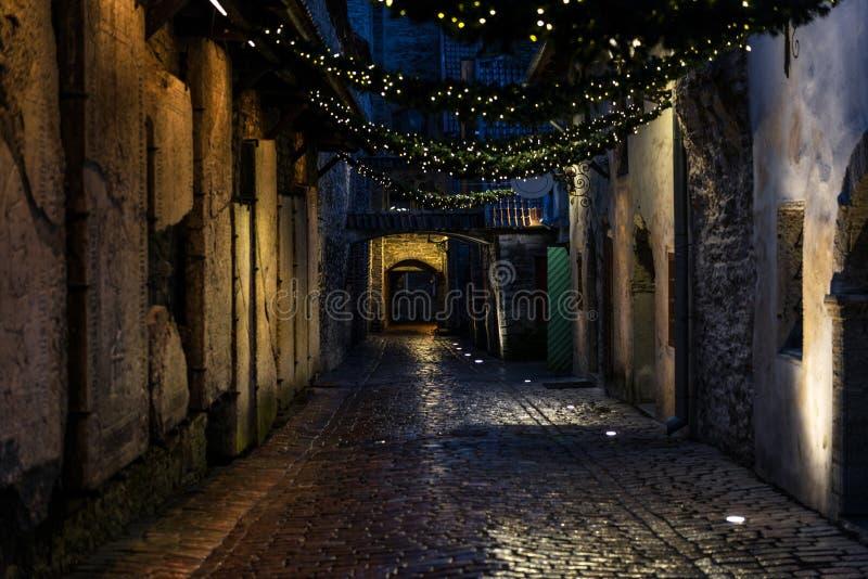 Passage för ` s för St Catherine på natten i Tallinn royaltyfri foto