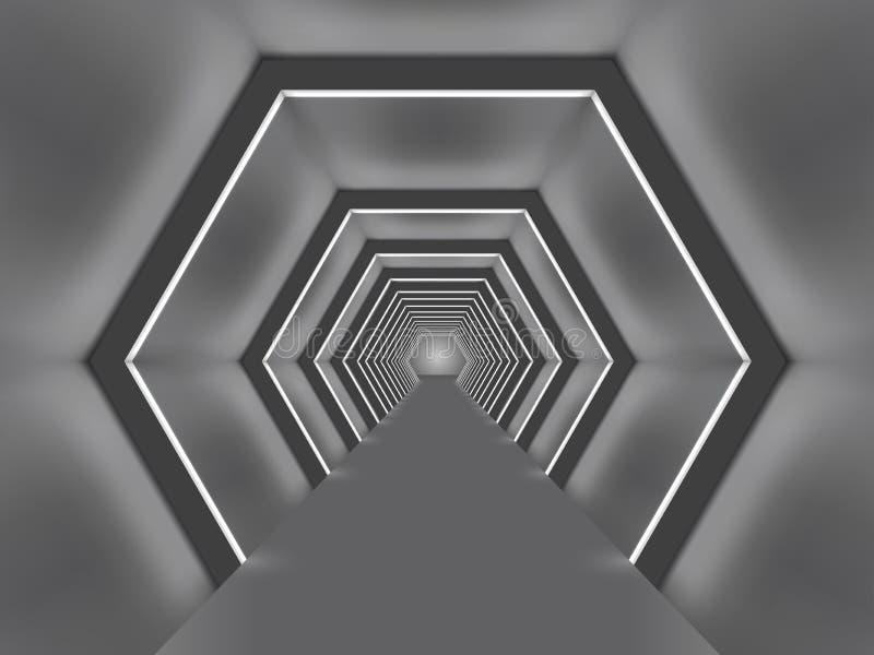 Passage formé par hexagone lumineux futuriste illustration libre de droits