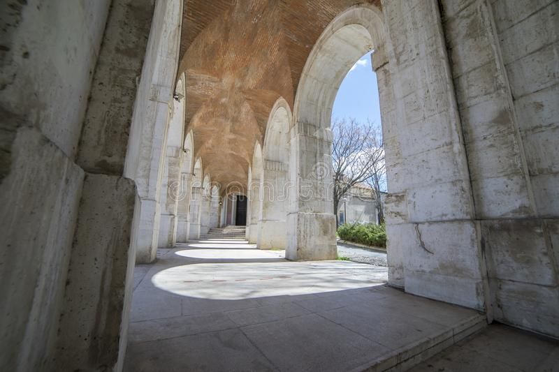 Passage Old arcs, architecture. A sight of the palace of Aranjuez (a museum nowadays), monument of the 18th century, royal reside stock images