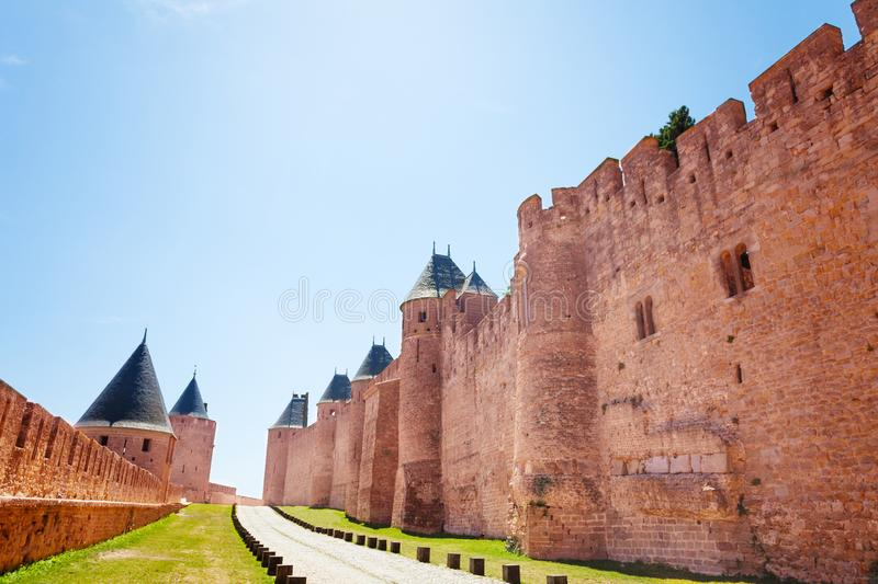 Passage between ramparts of Carcassonne citadel. Passage between two ramparts of medieval Carcassonne citadel in France stock photo