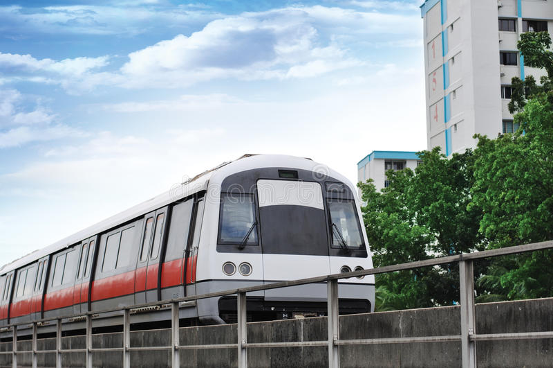 Passage rapide de masse - train de MRT de Singapour images stock