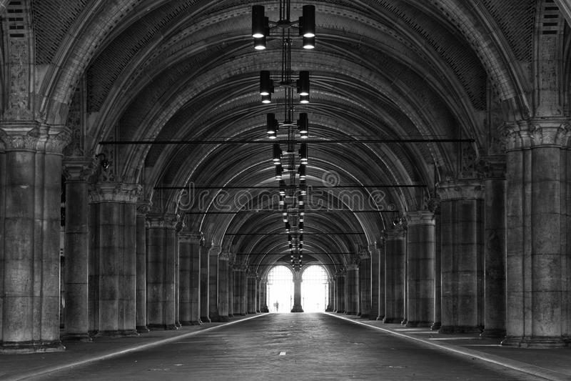 Passage Rijksmuseum. The passage underneath the Rijksmuseum, open for pedestrians and cyclists, als the entrance of the museum can be found here royalty free stock images