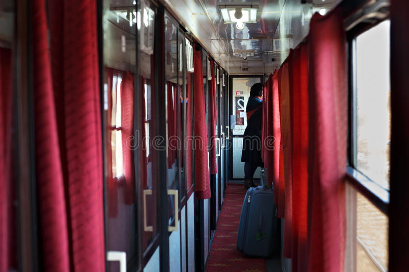 Passage in the sleeping car. stock images