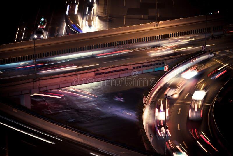 Passage supérieur de Changhaï le paysage de nuit photographie stock libre de droits