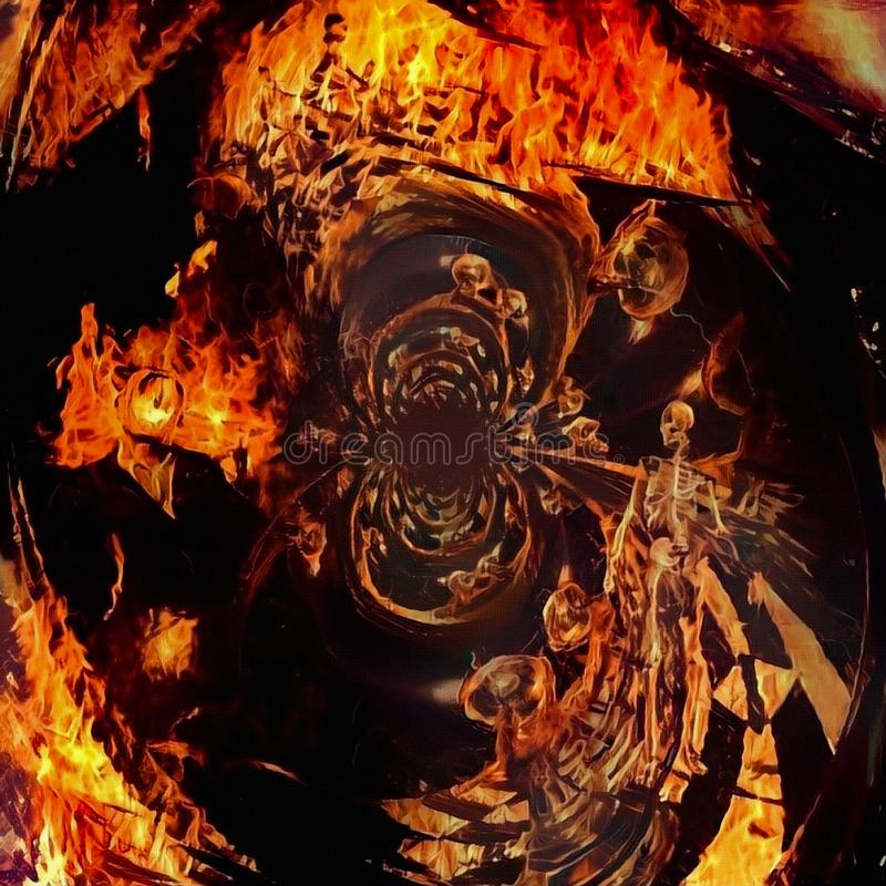 Passage to hell. Dark tunnel of fire with skeleton and burning man. Human elements were created with 3D software and are not from any actual human likenesses vector illustration