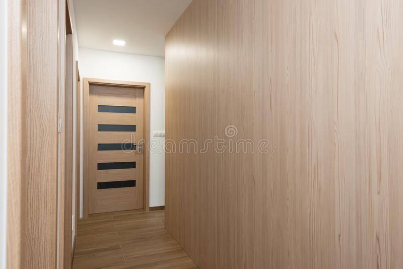 Passage to rooms in contemporary house. Interior stock photo