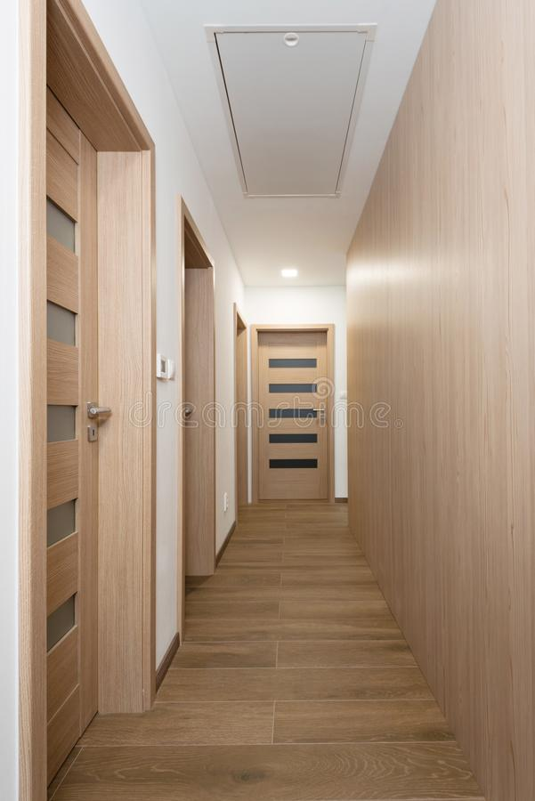 Passage to rooms in contemporary house. Interior stock images