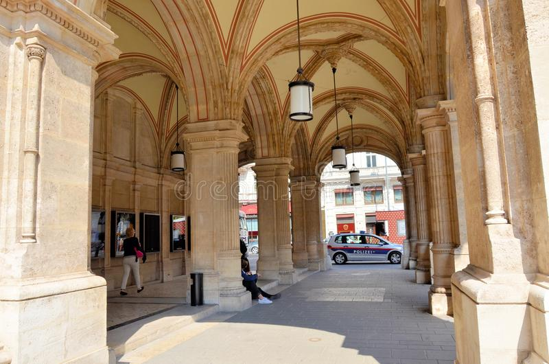 Passage under the arches of the Vienna Opera House royalty free stock photography