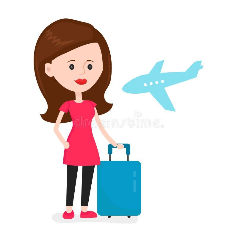Passageiro feliz novo da mulher do avião ilustração royalty free