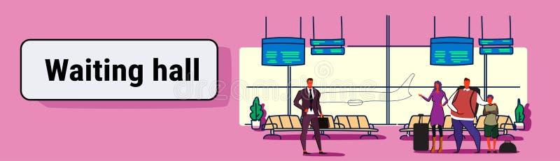 Passageiros do aeroporto nos viajantes interiores de espera dos povos da sala de estar da partida do salão que estão com férias d ilustração royalty free
