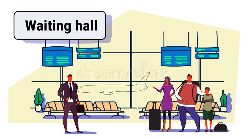 Passageiros do aeroporto nos viajantes interiores de espera dos povos da sala de estar da partida do salão que estão com férias d ilustração do vetor