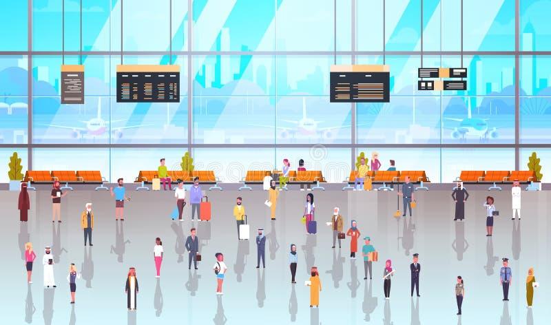 Passageiros interiores dos povos do aeroporto moderno com bagagem que andam completamente em esperar o terminal de Hall And Depar ilustração royalty free