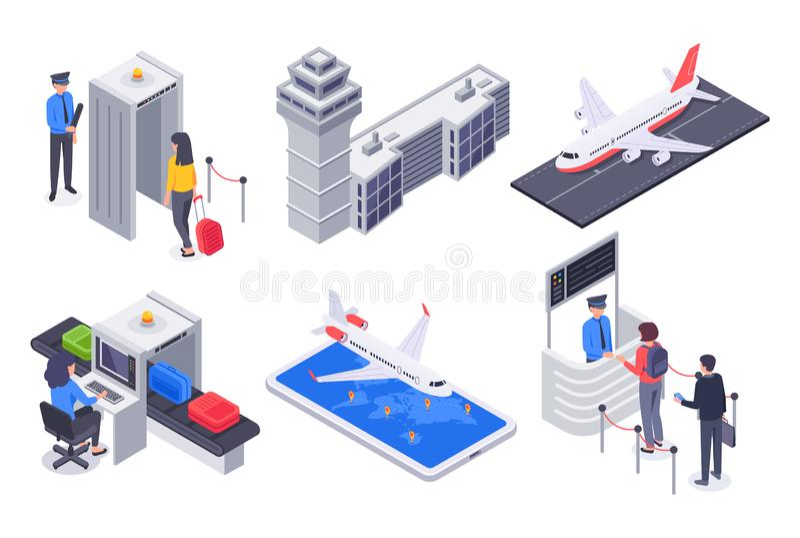 Passageiros isométricos do aeroporto Aviões do voo do turismo, passageiro do negócio com vetor da mala de viagem da bagagem do cu ilustração royalty free