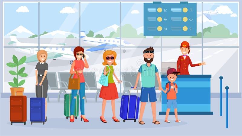Passageiros na ilustração da fila terminal de aeroporto ilustração do vetor