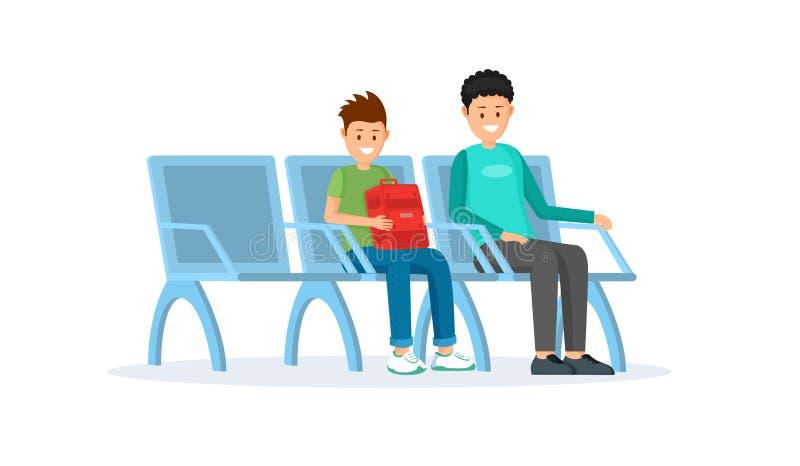 Passageiros na ilustração lisa do terminal de aeroporto ilustração royalty free