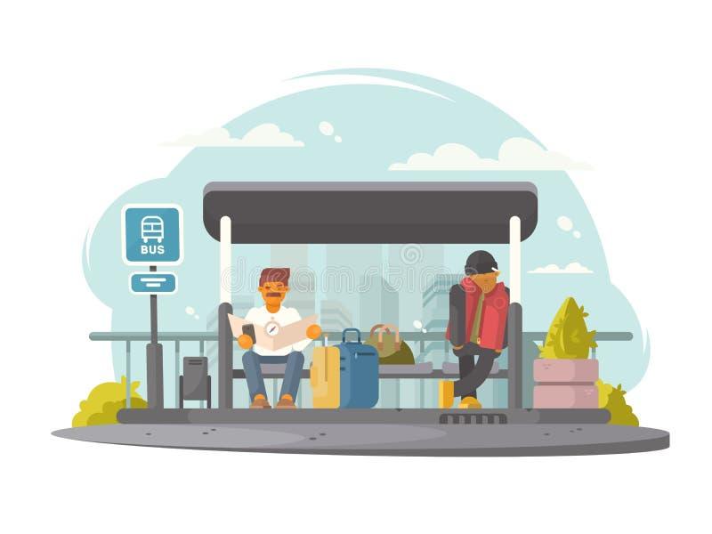 Passageiros na parada do ônibus ilustração do vetor