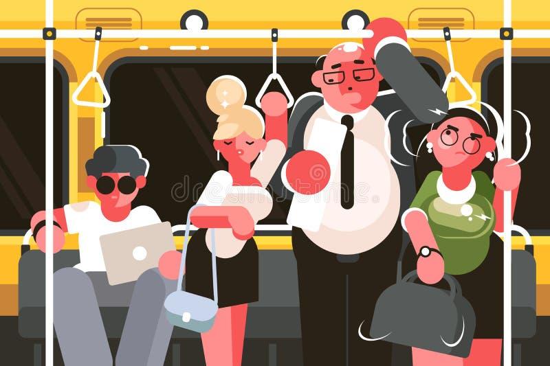 Passageiros no carro de metro ilustração royalty free