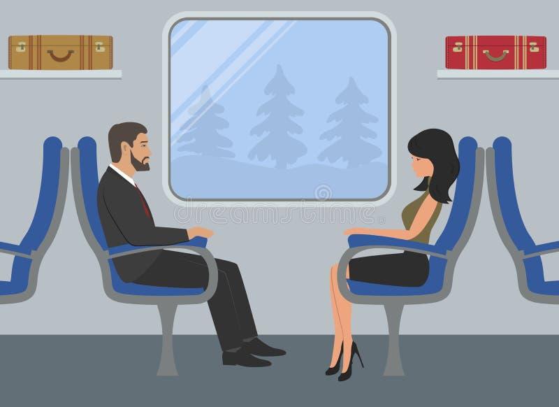 Passageiros no carro de trem A jovem mulher e um homem estão sentando-se em poltronas azuis e estão olhando-se para fora a janela ilustração stock