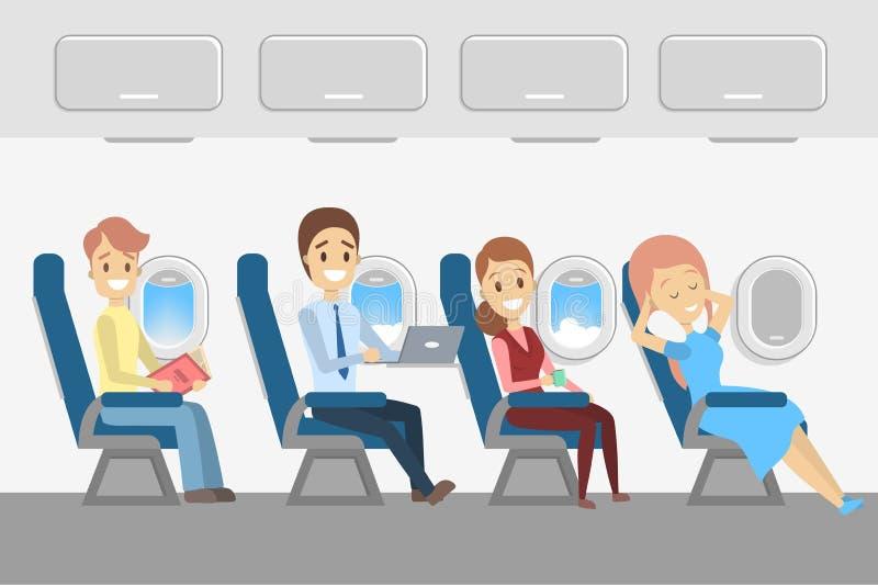 Passageiros no plano Interior dos aviões com povos ilustração do vetor