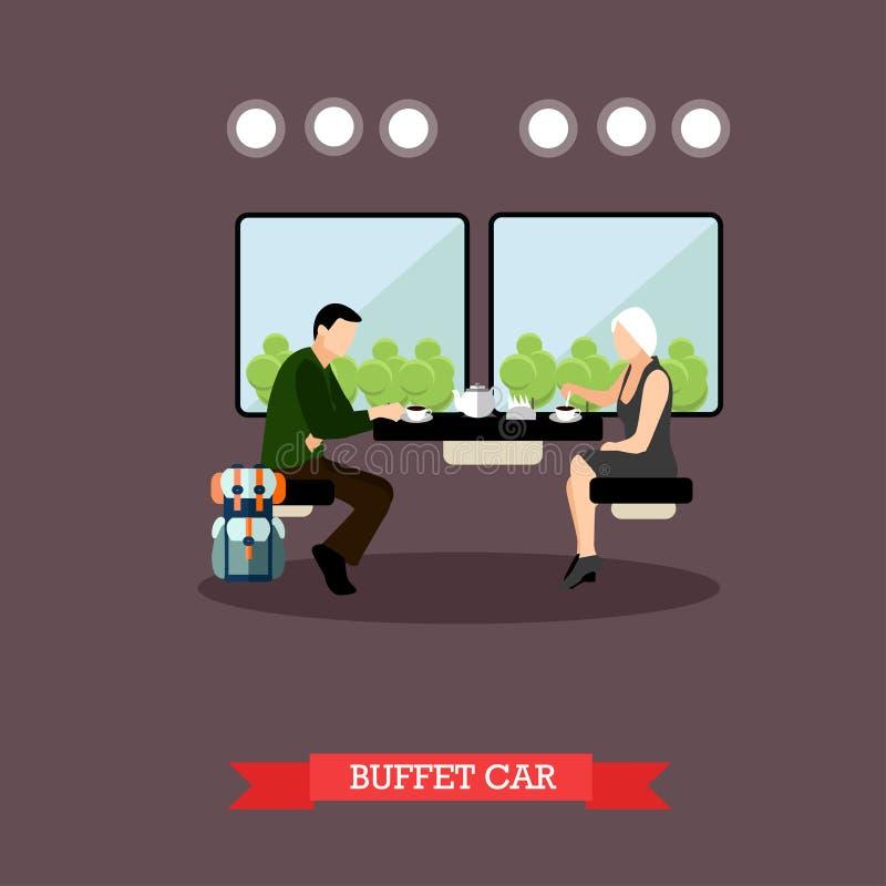 Passageiros no restaurante do trem Interior do carro Railway Cartaz do conceito do vetor ilustração stock