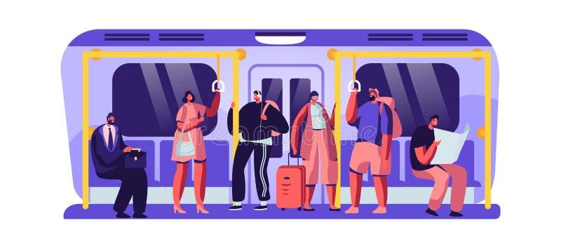 Passageiros no subterrâneo usando o metro urbano do transporte público Turistas e caráteres nativos dos cidadãos dentro da passag ilustração stock