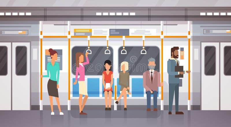 Passageiros no transporte público da cidade moderna do carro de metro, bonde subterrâneo dos povos ilustração do vetor