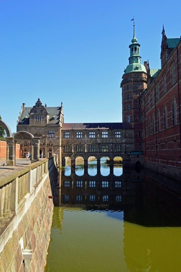A passagem ao corrente e a audiência abrigam o exterior no castelo de Frederiksborg foto de stock