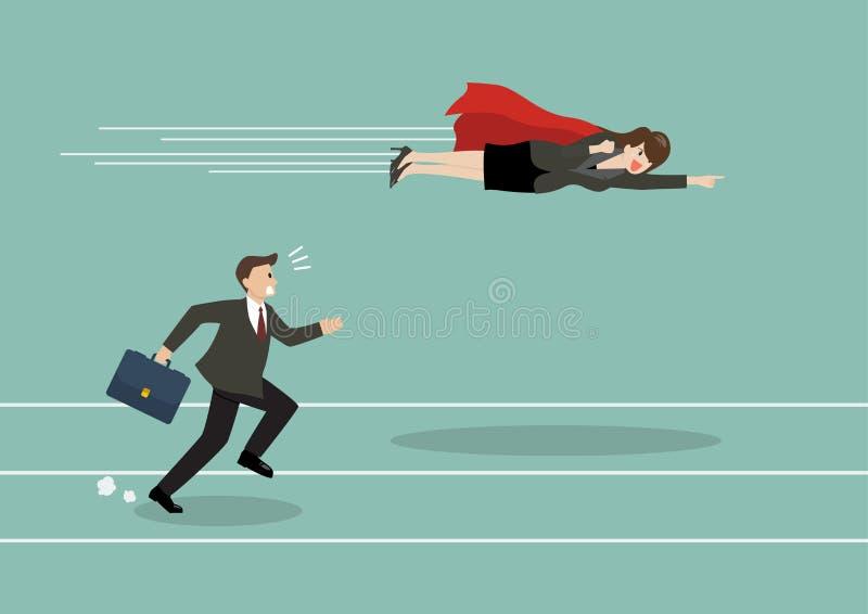Passagem da mosca do super-herói da mulher de negócio seu concorrente ilustração royalty free