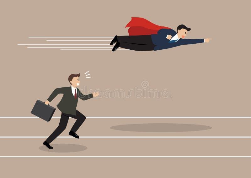 Passagem da mosca do super-herói do homem de negócios seu concorrente ilustração stock