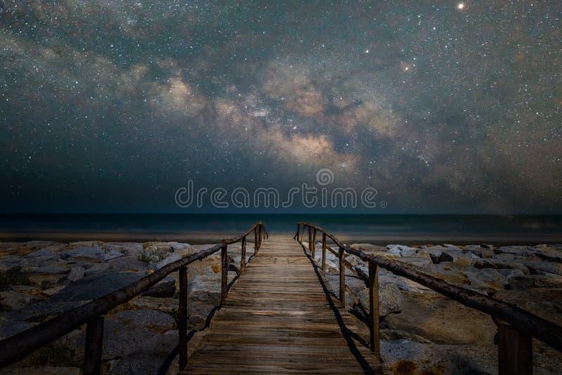 Passagem da ponte de madeira à praia com galáxia da Via Látea fotos de stock royalty free