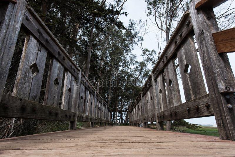 Passagem da ponte de madeira pelo oceano do baixo ângulo fotos de stock